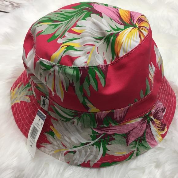 343ffc13187a6 Polo Ralph Lauren Floral Palm Leaf Bucket Hat NEW!  M 5b2607443c98442bfc055a34